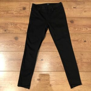 Just Black Skinny sz 27 black frayed hem pants